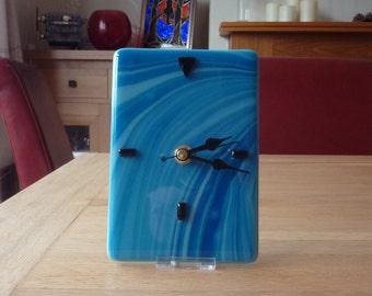 Fused blue glass clock