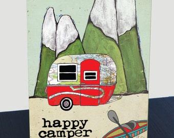 Travel Trailer Boler map wood panel print. Customize state map art. Happy Camper art print. Camper, Kayak, mountains.  Gift for camper.