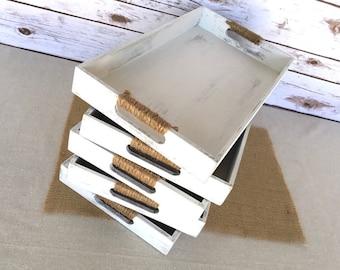 Shabby chic wooden trays