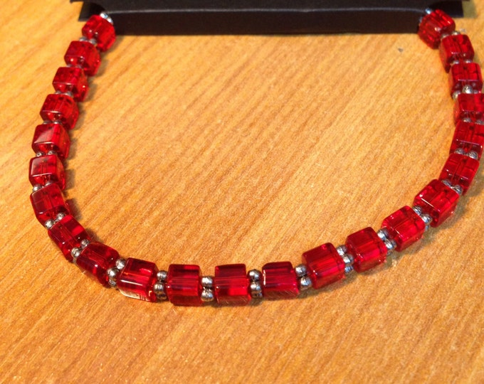 Square cut beaded glass bracelet, coloured glass bracelet, beaded glass bracelet, slim beaded bracelet, red bracelet, blue bracelet, pink