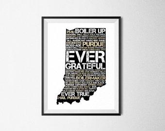 Purdue Print, Purdue Traditions Digital Download, Purdue University, Boiler Up, Hail Purdue