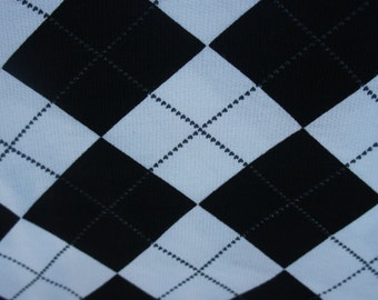 Black and White Argyle on Cotton French Terry Knit Fabric [SKU:MFR13FAB029]