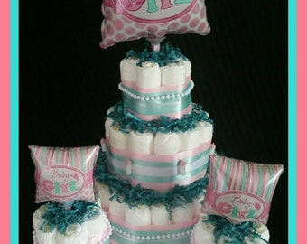 It's a Girl Balloon Diaper Cake set with 3 matching mini cakes