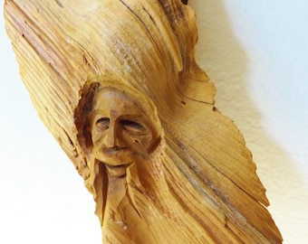 One Of A Kind Tree Man Folk Art Wood Carving of Mans Face Wall Hanging
