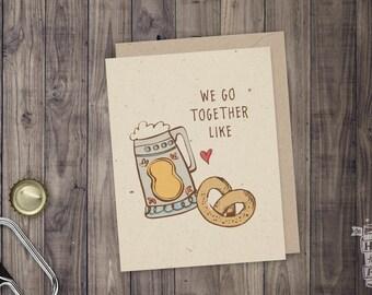 Oktoberfest Beer & Pretzel Folded Beer Card; Beer Stein, Craft Beer, Greeting Card, Beer Sayings, Beer Pairing, Card for Men