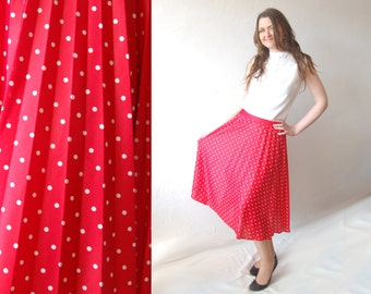 Vintage 70's Red color Polka Dot print Full Pleated Midi skirt 1970s Prom Summer Retro Hippie Women Clothing 1970s Hipster  skater preppy