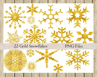 Gold snowflakes clipart instant download digital gold foil stars png files Christmas images