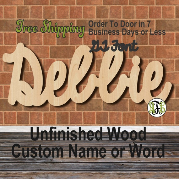 Unfinished Wood Custom Name or Word GT Font, Script, Wedding, laser cut wood, wooden cut out, Connected, Personalized