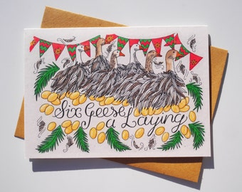 Six Geese a Laying Christmas card