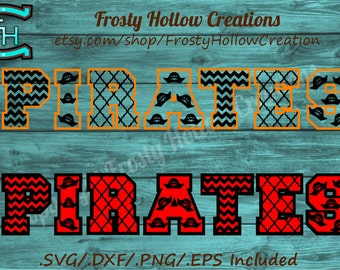 Pirates patterned cutting file SVG, eps, dxf, png instant download PERSONAL USE only! sports, football, team,studio, silhouette, cricut