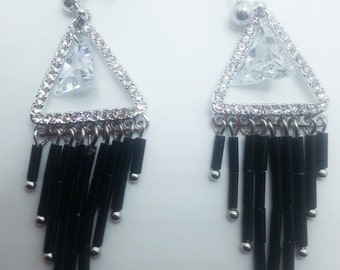 New Black Beaded Fringe With  Clear CZ A+++ Crystal Chandelier 2'' Pierced Earrings