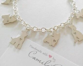 Charm Bracelet -Pet Bracelet - Pet Lovers Bracelet - Sterling Silver Bracelet