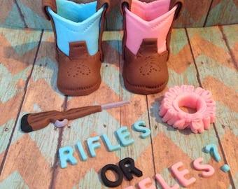 Rifles Or Ruffles Cake Topper