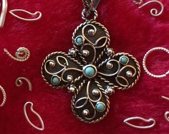 Sterling silver cross with turquose