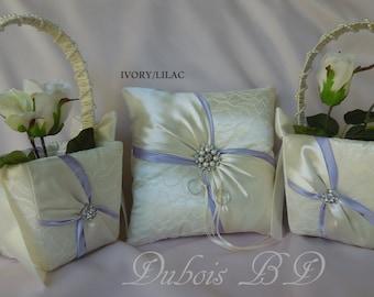 Lilac and Ivory ring bearer pillow, Wedding ring bearer pillow and 2 flower girl baskets 3 PCS. set, Lace ring bearer pillow