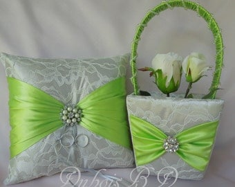 Lime and Silver ring bearer pillow and Flower girl basket 2 pcs. Set, Wedding ring pillow, Wedding decoration, Lime ring pillow, Weddings