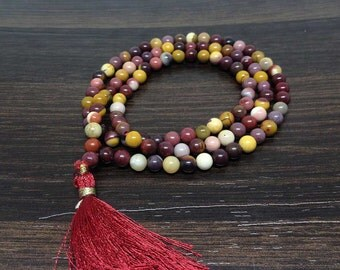 One (1) Natural 6mm MOOKAITE Mala with 108 Prayer Beads perfect for Meditation Mookaite Mala Prayer Mala Mookaite Necklace