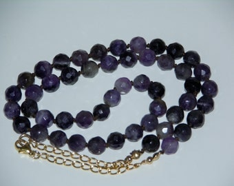 AMETHYST HAND KNOTTED ~ Necklace, Gemstone, Faceted Round Beads, Dark Brown Natural Silk Thread, 14KT Gold Filled Chain, Stylish & Chic