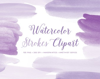 Watercolor purple clipart paint strokes. Perfect Graphics for banners, photo overlays and scrapbooking. Watercolour clip art Hand Painted
