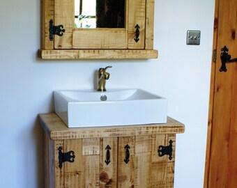 Bathroom Cupboard Cabinet Mirror Pine Wooded Hardwax Oil Light Oak