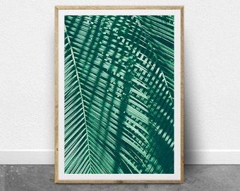 Tropical Wall Poster, Palm Leaf Print, Printable Tropical Art, Greenery Print, Modern Photography Print, Download Wall Art, Boho Wall Decor