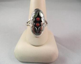Vintage Native American Sterling Silver and Coral Shadow Box Ring