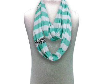 Monogram Infinity Scarf, gift for her, valentine gift  CLEARANCE marked down 30% CLOSEOUT SALE