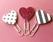 Glitter heart paperclips  pink planner clips  spottystriped heart clips  page marker  heart bookmark  whitegreypink stationery set