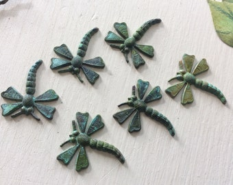 Verdigris dragonfly flourishes 6 pc