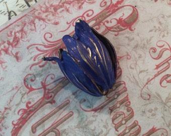 Royal blue Antique brass large tulip bead caps 2pc
