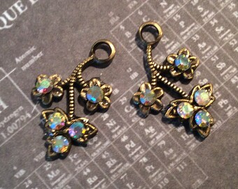 Antiqued brass Swarovski ab crystal floral charms 2 pc