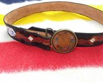 Vintage boho belt   60s Hippie belt   Flower child belt buckle   60s leather belt   Boho belt buckle   70s belt   Hand painted belt