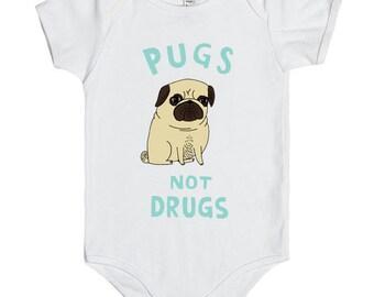 Pugs not Drugs Onesie, Pugs not Drugs Bodysuit, Baby Onesies cute ,Gift baby onesies