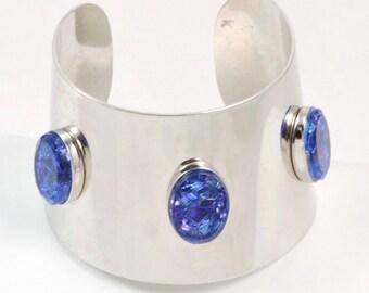 Vintage blue speckle stone cuff bracelet
