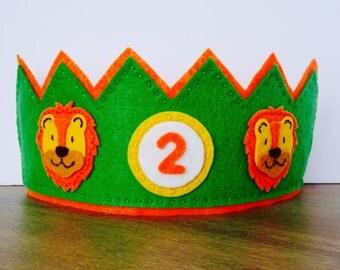 Felt Birthday Crown, Lion Crown, Felt Lion Crown