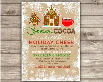 Gingerbread House Decorating Party Invitations Gingerbread Man Cookie Party Holiday Party Invitations Christmas Kids Christmas Party