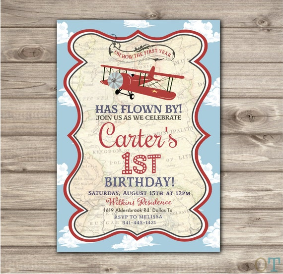 Vintage Airplane Party Printables Airplane Birthday Airplane: Airplane Birthday Printable Invitations Rustic Boy Theme Party