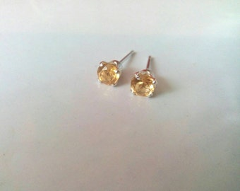 Citrine Stud Earrings, 4mm Earrings, Sterling Silver Studs, Gemstone Earrings, November Birthstone Earrings