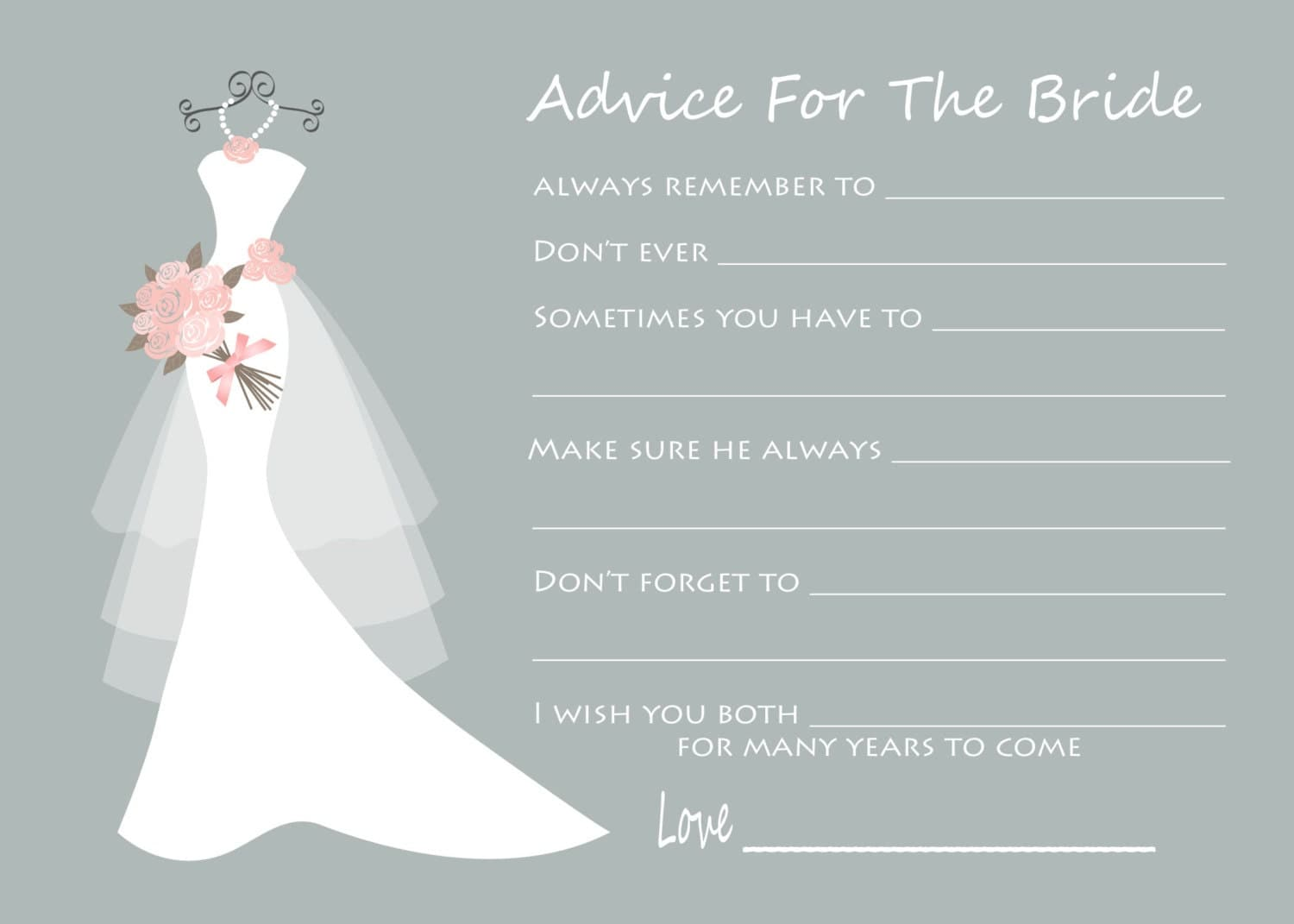 Advice For The Bride Wedding Advice Cards Bridal Shower