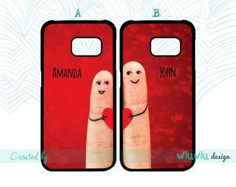 Cute Love Red hearts custom names couple best friends double cases for Samsung Galaxy phone covers for Samsung S3 S4 S5 S6 S7 S7 edge phones