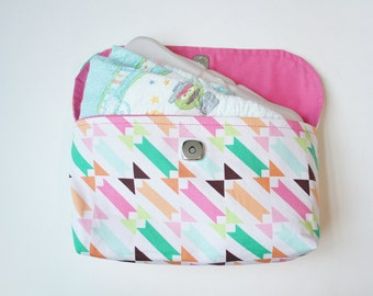 Colorful Geometric Diaper Clutch