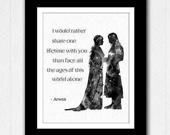 Aragorn and Arwen Quote Lord of the Rings Watercolor - Buy 2 Get 1 FREE