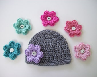 Baby Girl Hat, Pick 6 Flowers, Baby Shower Gift, Toddler Hat, Crochet Baby Hat, Newborn Hat, Baby Girl, Newborn Photo Prop, Newborn Beanie