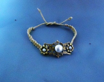 Macrame Bracelet using Vintage Jewelry