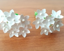 Small paper flowers set of 100 white paper flowers / tiny paper flowers / mini paper flowers /white craft flowers