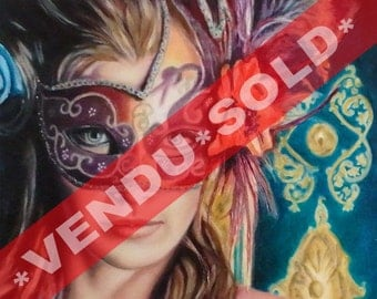 """Sold* Original OIL PAINTING on canvas - TURQUOISE - 20"""" X 16"""" (51 X 41 cm) - Figurative / Realistic - Woman Venetian Mask Carnival Beautiful"""