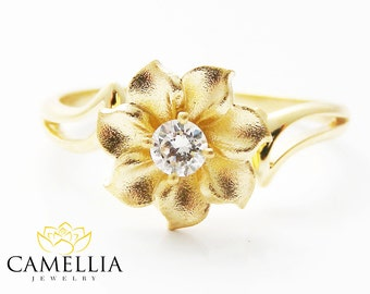 18K Yellow Gold Flower Engagement Ring Diamond Engagement Ring Flower Engagement Ring 18K Gold Ring