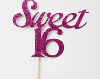 Sweet 16 Cake Topper, Birthday Cake Topper