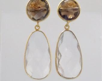 Smoky & Crystal Gemstone Earring