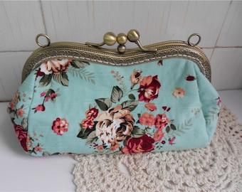 Womens Clutch Bag  Double Frame Purse